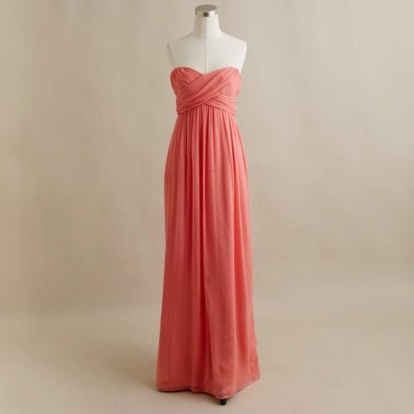 J Crew Coral Silk Chiffon Evening Gown | Poshmark